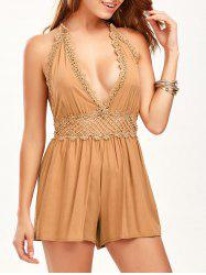 Lace Panel Halter Backless Romper