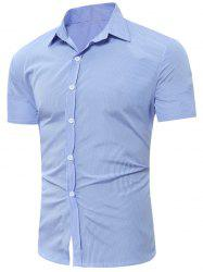 Short Sleeve Vertical Striped Shirt - BLUE