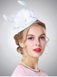 Feather Floral Shpae Cambric Pillbox Hoop Hat