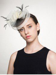 Feather Embellished Organza Floral Cocktail Hat
