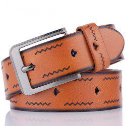 Faux Leather Pin Buckle Wavy Line Embossed Belt - BROWN