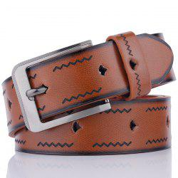 Faux Leather Pin Buckle Ceinture en relief ondulée -