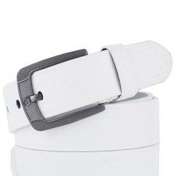 Faux Leather Retro Embossing Pin Buckle Belt - WHITE