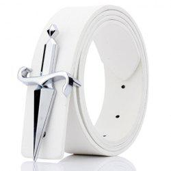 Plate Buckle Tapered Crucifixion Artificial Leather Belt - WHITE