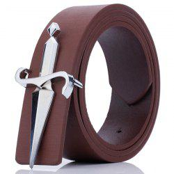 Plate Buckle Tapered Crucifixion Artificial Leather Belt - COFFEE