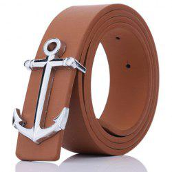 Plate Buckle Anchor Shape Faux Leather Belt