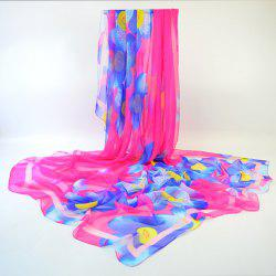 Imitated Silk Fabric Gossamer Floral Shawl Scarf