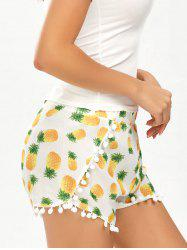 Pineapple Print Pom Pom Dolphin Shorts - WHITE