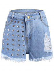 Frayed Denim Studed Shorts - LIGHT BLUE
