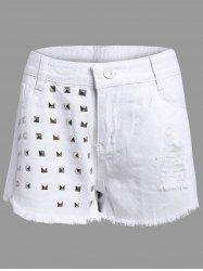 Frayed Denim Studed Shorts - WHITE