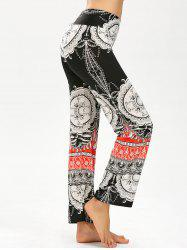 Elastic Waist Tribal Print Wide Leg Pants