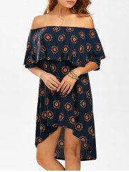 High Low Floral Flounce Off The Shoulder Dress