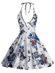 Halter Backless Floral Print Dress