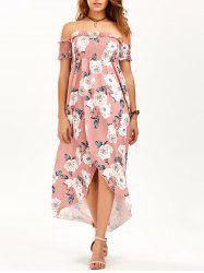 Floral High Slit Off The Shoulder Maxi Dress - PINK