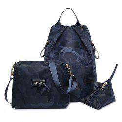 Camo Print Nylon Backpack Set - DEEP BLUE
