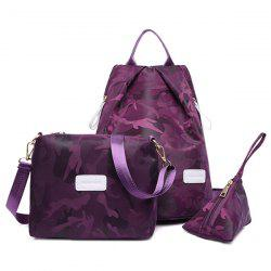 Camo Print Nylon Backpack Set - PURPLE