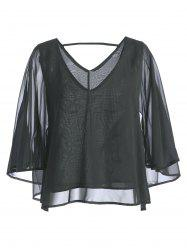 Cut Out Plunging Neckine Chiffon Top