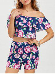 Off The Shoulder Top with Floral Shorts - PURPLISH BLUE