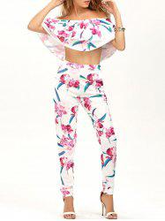 Off The Shoulder Blouse with Floral Pants - WHITE
