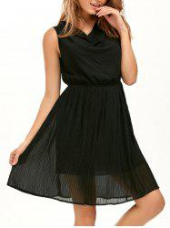 Pleated Sleeveless Chiffon Dress - BLACK