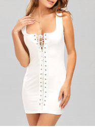 Grommet Lace Up Short Tight Bodycon Dress