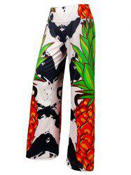 Pineapple Print Elastic Waist Wide Leg Pants