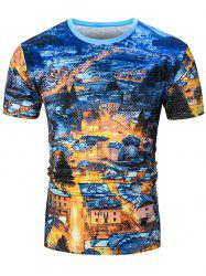 Short Sleeve Night Scene Print Tee