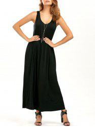 V Neck Elastic Waist Sleeveless Maxi Dress