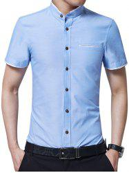 Two Tone Mandarin Collar Shirt