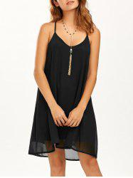 Double Layer Spaghetti Strap Chiffon Beach Dress - BLACK