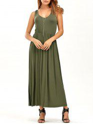 V Neck Elastic Waist Sleeveless Maxi Dress - GREEN