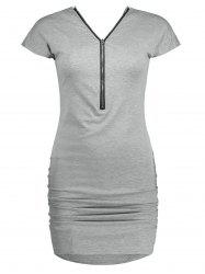 Ruched Zipper Design Dolman Sleeve Dress