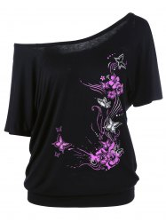Skew Collar Butterfly and Floral T-Shirt - BLACK