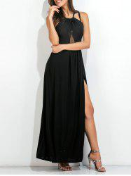 Open Back High Slit Strappy Maxi Party Dress