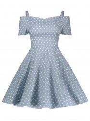 Vintage Polka Dot Cold Shoulder Dress