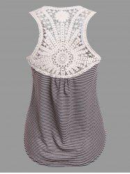 Lace Insert Stripe Tank Top