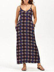 Spaghetti Strap Printed Maxi Dress with Pockets
