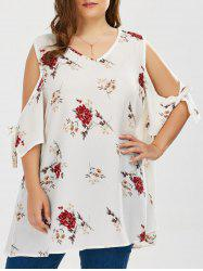 Plus Size Cold Shoulder Chiffon Floral Top