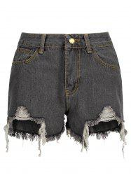 High Waisted Frayed Denim Shorts - SMOKY GRAY