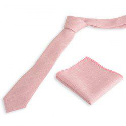 Blend Linen Grain Handkerchief Neck Tie Set - PINKISH PURPLE