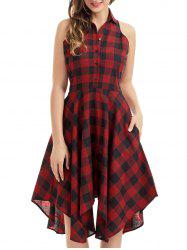 Casual Handkerchief Tartan Shirt Dress - RED WITH BLACK
