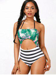 Palm Striped Cut Out Halter Backless Swimwear
