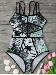 Tropical Print Piping One Piece Swimsuit - GREEN AND BLACK