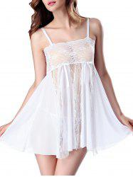 Lace Panel See Thru Slip Lingerie Dress