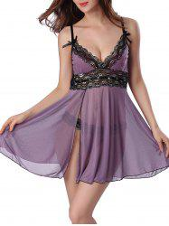 Mesh Sheer Rhinestone Slip Sleep Dress