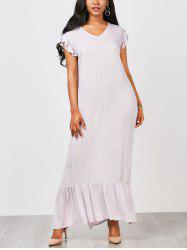 Casual Ruffles Straight Maxi Dress -