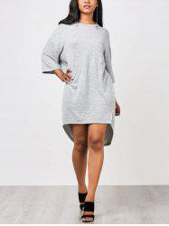 Casual High Low Straight Pocket Dress -