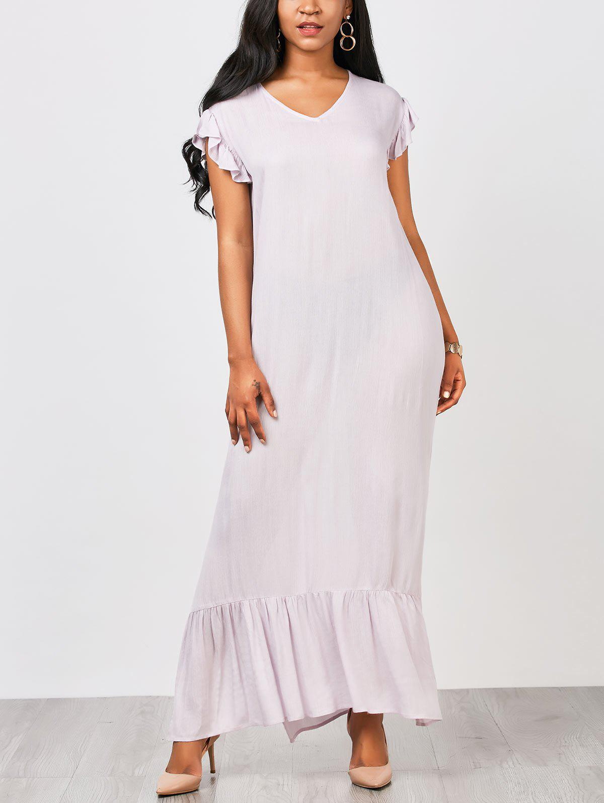 Outfits Casual Ruffles Straight Maxi Dress