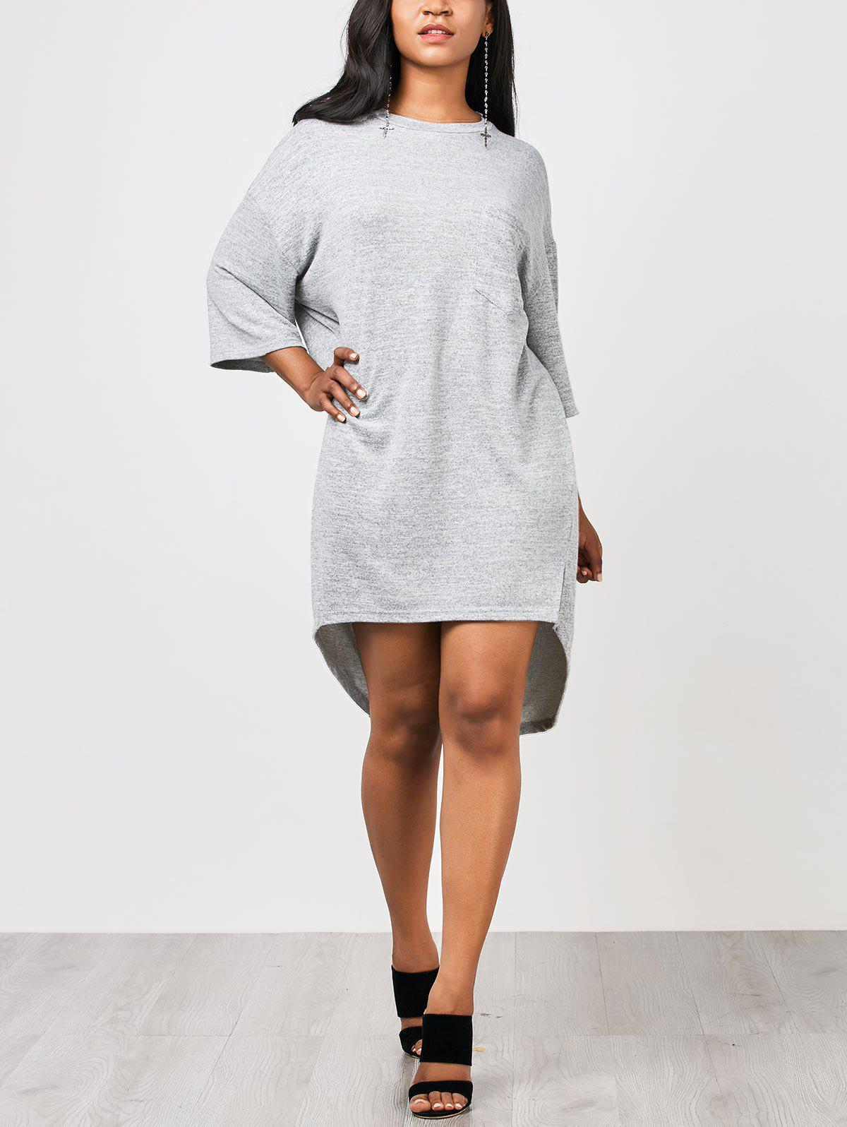 Outfit Casual High Low Straight Pocket Dress