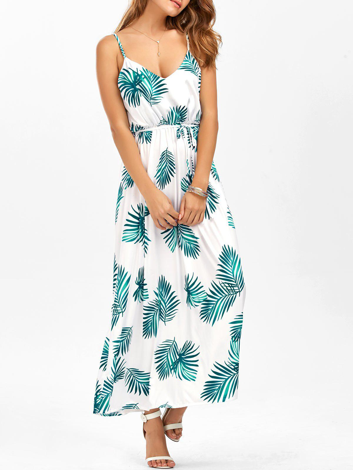 New Leaf Print Cut Out Belted Cami Dress